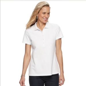 Golf classic white knit polo top, collar, button